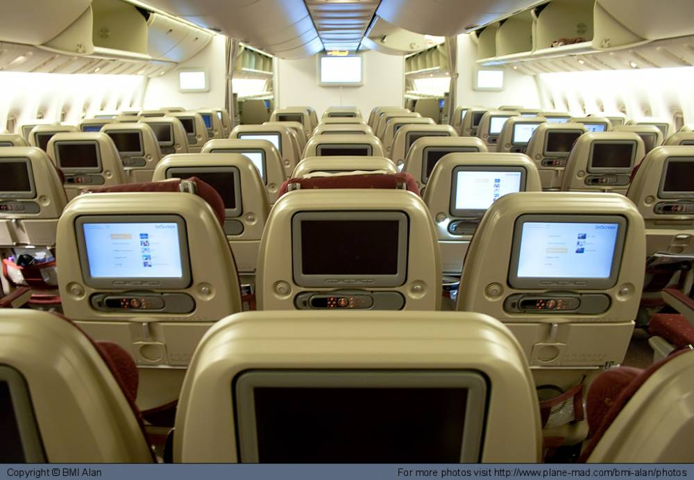 View from the back of a Boeing 777
